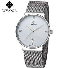 Wwoor 8818 Luxury And Elegant / Jam Tangan Wwoor Tipis / Jam Formal Pria / Rantai Stainless Steel (White)
