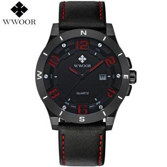 WWOOR Brand Luxury Waterproof Military Watches Male Date Relogio Masculino Leather Strap Casual Quartz Watch Men Sport Wrist Watch 8014 - intl
