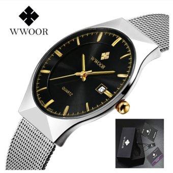 WWOOR Business Men Watch 2017 Ultra-thin Quartz Watches Stainless Steel Men Watch Casual Wristwatches Waterproof Male Clock - intl