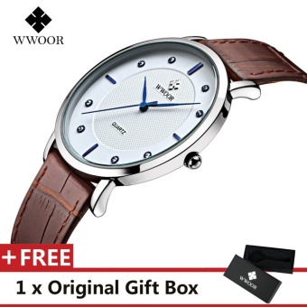 WWOOR Top Luxury Brand Watch Famous Fashion Sports Cool Men Quartz Watches Waterproof Leather Wristwatch For Male Black Brown - intl