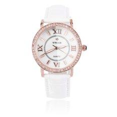 Allwin WWOOR Elegant Crystal Women Round Quartz Wrist Watch Office Lady Watch Gold and White (Intl)