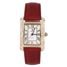 Allwin WWOOR Elegant Crystal Women Square Quartz Wrist Watch Office Lady Watch Gold and Red (Intl)