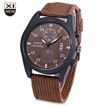 Xinew 2247G Men Quartz Watch Luminous Decorative Sub-dial Date Display Nylon Strap Wristwatch (BROWN)