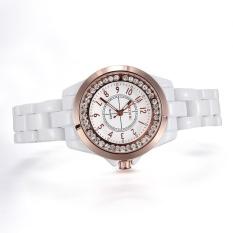 xinggang Brand Skone white Imitation ceramic women watches luminous rhinestones quartz mesh watches (Rose Gold) - intl