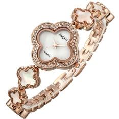 YaQin 2016 Fashion Bracelet Dress Watch Women Casual Clocks Quartz Flower Rhinestone Watches Relogios Femininos Wristwatches (Rose Gold) - Intl