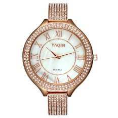 YAQIN Brand Rhinestone Bracelet Band Watch For Women Colorfull Shell Dial Gold Rose Luxury Roman Number Quartz Dress Watch--Rose Gold