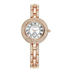 Yaqin Colorful Shell Dial Roma Style Rhinstone Silver Watches Women Fashion Brand Quartz Analog Rose Gold Watch Lady Reloj Mujer--Rose Gold