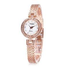 YAQIN Luxury Watch For Women 2015 Fashion Bracelet Dress Casual Quartz Rhinestone Wristwatche-Rose Gold