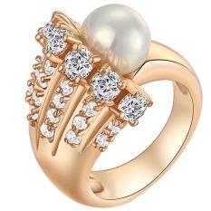 Yazilind 18 KB Desain Yang Unik Putih Kristal Dengan Satu Cincin Mutiara Emas Berlapis Perempuan Likes6