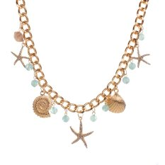 Yazilind Shell Starfish Resin Crystal Rhinestone Beach Women Pink Necklace Party Gifts