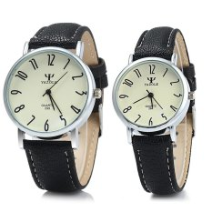Yazole 299 Business Quartz Watch With Leather Band For Couple (BLACK) (Intl)