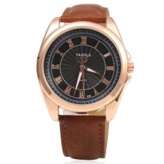 YAZOLE 336 Men Quartz Watch Luminous Pointer Roman Numerals Display Leather Band Wristwatch (Black)