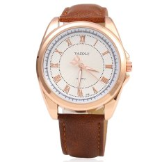 YAZOLE 336 Men Quartz Watch Luminous Pointer Roman Numerals Display Leather Band Wristwatch (WHITE)