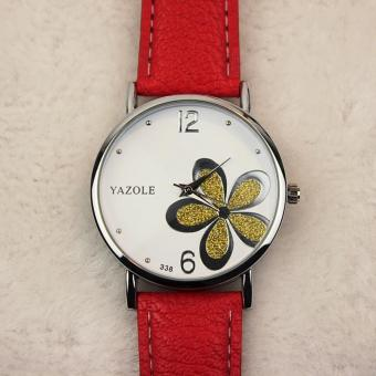 Yazole 338 Casual sport watches for women Ladies Girl Students Fashion Leather strap Waterproof Watch White