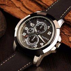 Yazole 350 Jam Tangan Pria Sport Clock Quartz Watch - Hitam-Putih