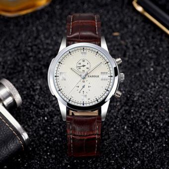 ... Harga YAZOLE Vintage Men Leather Band Fashion Stainless Steel Sport Source Yazole 384 Men Leather