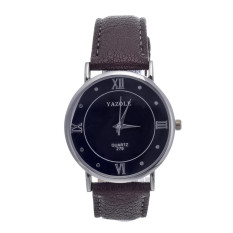 Yika High-end Business Men's Women Casual Classic Roman Numerals Watches (Black / Brown) (Intl)