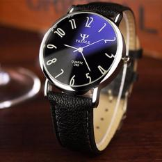 Yazole Jam Tangan Pria Fashion Casual Waterproof Quartz Analog Men Leather Watch - Black