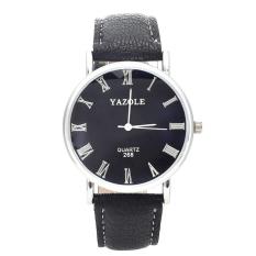 Yazole Men's Stainless Steel Leather Quartz Wrist Watch (Black + Black) - Intl