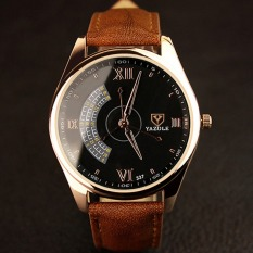 YAZOLE Men 3 Seconds Luminous Casual Wrist Watch (Black + Brown)