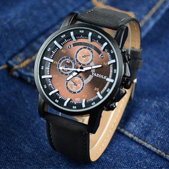 YAZOLE Men Watches Luminous Pointer Luxury Sports Military Watch PU Leather Band Analog Quartz Wristwatch Brown Dial (Black Strap) - Intl