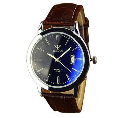 Yazole Pria Analog Jam Tangan Kulit Tahan Air Waterproof Calendar Men Leather Wrist Quartz Watch