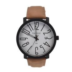 JinGle Women Men's Fashion Black Stainless Steel Luxury Sport Analog Quartz Wrist Watch (White + Brown) (Intl)
