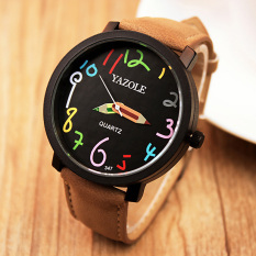 YAZOLE Unisex Business Quartz Leather Wrist Watch (Black + Brown)