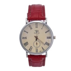 Yika Business Men Women and Ladies Fashion Slim Blue Glass Two-pin Half Waterproof Watch Vintage Watches (White / Red) (Intl)