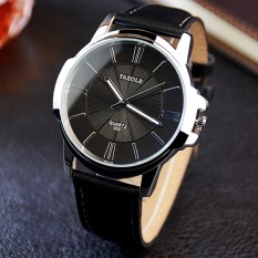 YAZOLE Unisex Sport Stainless Steel Quartz Leather Wrist Watch (Black)