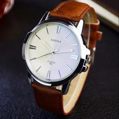 YAZOLE Unisex Sport Stainless Steel Quartz Leather Wrist Watch (White + Brown)