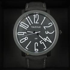 YAZOLE Vintage Men Leather Band Fashion Stainless Steel Sport Military Bussiness Quartz Wrist Watch YZL326H-Black - Intl