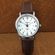 YAZOLE Women Business Waterproof Leather Quartz 24 Hours Wrist Watch (White+Brown)