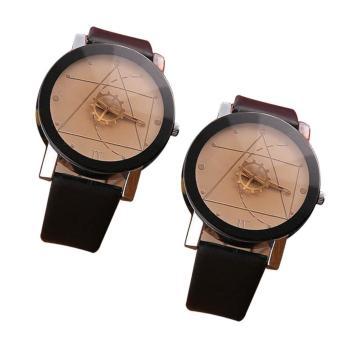YBC pasangan kreatif jam kulit perhiasan minimalis sejalan Hitam [membeli 1 mendapatkan 1 gratis]