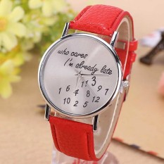 YBC Women Fashion PU Leather Quartz Watch Red - Intl