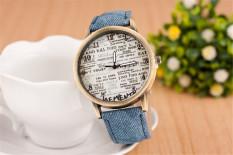 Yika Fashion Brand Quartz Watch Casual Letter Of English Cloth Leather Strap Cartoon Men / Women Watch (Blue) (Intl)