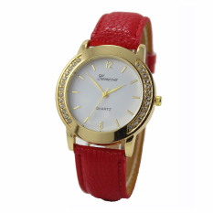 Yika Geneva Fashion Women Classic Diamond Watches Analog Leather Quartz Wrist Watch (Red) (Intl)