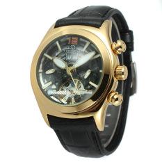 Yika Men's Leather Mechanical Sport Army Wrist Watch (Black + Gold)