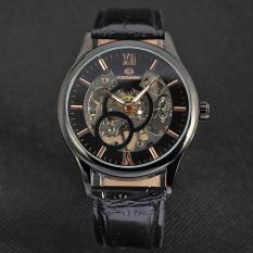 Yika Men's Mechanical Automatic Self-Winding Date Leather Wrist Watch (Black)