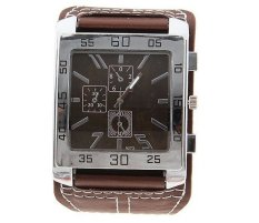 Yika New Fashion Chic Men Women Leather Band Square Dial Quartz Wrist Watch (Brown)
