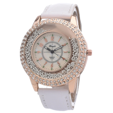 Yika Women Crystal Leather Quartz Wrist Watch (White)