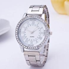 Yika Women Resin Rhinestone Stainless Steel Quartz Wrist Watch (Silver)