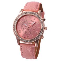 Yika Women Rhinestone Geneva Leather Analog Quartz Wrist Watch (Pink)
