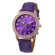 Yika Women Rhinestone Geneva Leather Analog Quartz Wrist Watch (Purple)