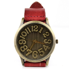 Yika Women's Vintage Bronze Round Leather Band Wrist Watch (Red)