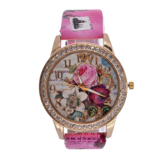 Yika Womens Wrist Watch Flower Rose Leather Crystal Casual Girl Watch (Rose Red) (Intl)