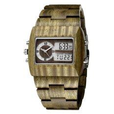 YJJZB JIANGYUYAN Luxury Natural Sandalwood Wood Watches Men DigitalChronograph LED Dual Time Zone Clock masculino (green sandalwood) - intl