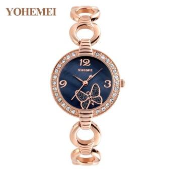 YOHEMEI 0169 Brand Luxury Bracelet Watch For Women Butterfly Dial Ladies WristWatches Woman Quartz Watch - Black - intl