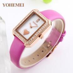 YOHEMEI 0171 Simple Trend Lady Waterproof Fashion Quartz Watch Genuine Leather Strap Rose Red - intl