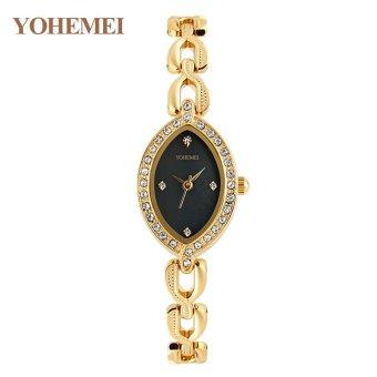 YOHEMEI 0176 Women 's Elegant Elegant Gold Steel Bracelet Quartz Watch - Black - intl